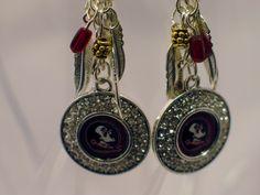FSU Earrings, FSU Seminole Earrings, Seminole Earrings, Florida State Logo Earrings, FSU Chandelier Earrings, Florida State Jewelry by JewelrybyMariB on Etsy