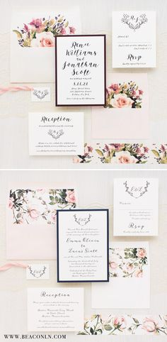 Romantic Garden Blooms with Blush Peach, Ivory, Burgundy and Navy. Each Invite Set Includes a Matching Envelope Liner and Paper Band with Silk Tie Monogram Tag. NEW for 2017 WEDDINGS! From Beacon Lane