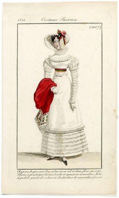 Le Journal des Dames et des Modes 1821 Costume Parisien N°2007