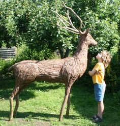 Abstract Contemporary or Modern Outdoor Outside Exterior Garden / Yard Sculptures Statues statuary sculpture by artist Tessa Hayward titled: 'Red Stag (life size Deer garden/Yard sculpture/statue of Found Objec)'