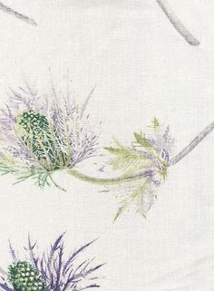 Sophie's Thistle Linen Fabric Off white linen printed with purple thistles