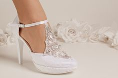 Brautschuhe, Hochzeitsschuhe aus Leder hoher Absatz bequem