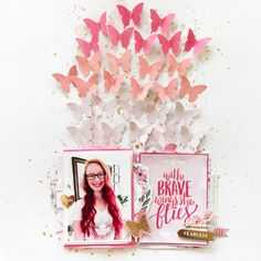 Layout using the Take Me Away collection by Paige Evans Pink Paislee Scrapbooking Layouts, Scrapbook Pages, Photo Layouts, Layout Inspiration, Color Change, Wings, Shapes, Crafty, Evans