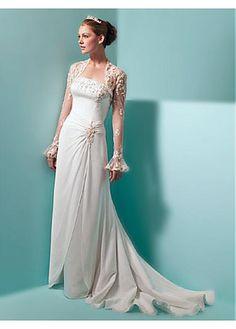 Elegant Illusion Sleeve Column Wedding Dress