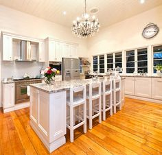 Clean Lines with white cabinets & stone bench tops  #VT Industries for the #countertops vtindustries.com/