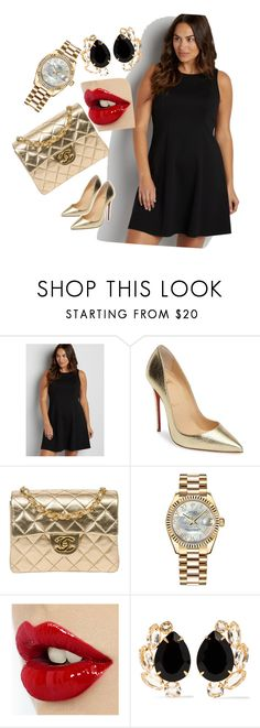 """""""gold&black"""" by amela83 ❤ liked on Polyvore featuring maurices, Christian Louboutin, Chanel, Rolex and Bounkit"""