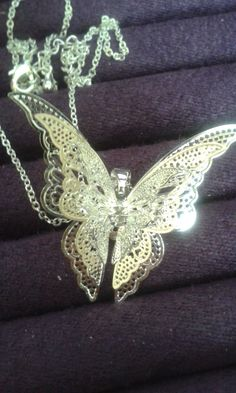 Silver Filigree Butterfly Necklace 925 Stamped by OhSnapJewels on Etsy Butterfly Necklace, Silver Filigree, Brooch, Stamp, Diamond, Creative, Handmade, Stuff To Buy, Etsy