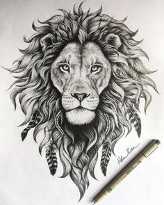 detail on this lion illustration is insane! - The detail on this lion illustration is insane! -The detail on this lion illustration is insane! - The detail on this lion illustration is insane! Kunst Tattoos, Bild Tattoos, Body Art Tattoos, Tattoo Art, Black Art Tattoo, Leo Lion Tattoos, Animal Tattoos, Lion Thigh Tattoo, Lion Back Tattoo