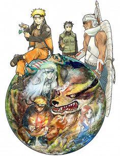 Naruto, Minato, Kurama, Kushina, Killer B and Yamato