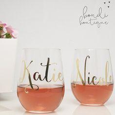 Custom Wedding Wine Glasses- ON SALE! by Bondi Bella Boutique