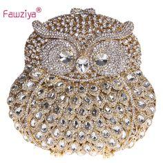 Fawziya Owl Bag Owl Purse With Chain Clutch Evening Bag Crystal Handbag