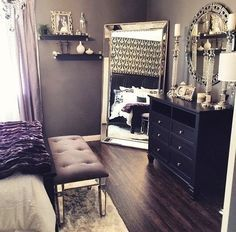 beautiful bedroom decor, black dresser, silver mirror, silver candles, black white silver decor, romantic bedroom, hollywood, glam
