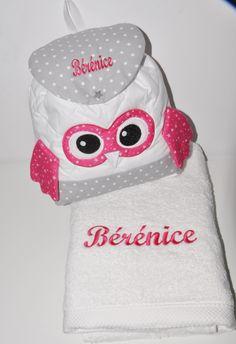 Box cadeau: drap de bain+sac à dos chouette personnalisées brodée pour naissance,anniversaire,noel : Sacs enfants par lbm-creation