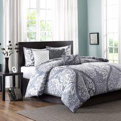 Home Essence Adela Cotton Sateen Printed Duvet Cover Bedding Set Grey Comforter Sets, Duvet Sets, Duvet Cover Sets, Gray Bedding, Console, Bed Sets, My New Room, Bedroom Decor, Master Bedroom