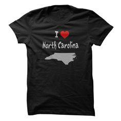 I Love North Carolina with  Heart and North Carolina State Silhouette