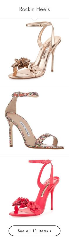 Rockin Heels by seamstressfelicia @feliciarayco #shoes #women on Polyvore featuring polyvore women's fashion shoes sandals heels scarpe rose gold metallic sandals heeled sandals ankle wrap sandals strappy heeled sandals leather strap sandals floral print manolo blahnik shoes ankle tie sandals open toe shoes floral heels shoes floral print shoes fluoro pink high heel sandals ankle strap high heel sandals open toe sandals pink sandals black shoes black black sandals black stilettos ankle cuff…