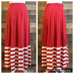 Vintage Skirts | Vintage Ms Chaus Red White Striped Pleated Skirt | Poshmark