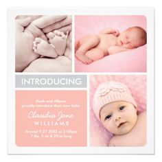 pink plaid with tulip baby girl photo announcement photo cards and