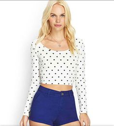 I need a crop top like this! Love the polka dots and long sleeves paired with a skater skirt