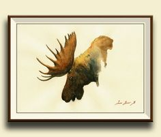 Hey, I found this really awesome Etsy listing at https://www.etsy.com/listing/232350928/print-moose-elk-animal-bull-deer-stag