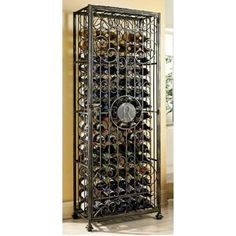 Wine Enthusiast Professional Steel Wine Chiller at Lowe's. Lockup never looked more inviting. Protect your wine behind the steel scroll work of this handsome storage jail, antiqued with a bronze finish to enhance Wine Racks, Wine Rack Storage, Wine Bottle Rack, Kitchen Storage, Wine Supplies, Ikea, Wine Cabinets, Personalized Wine, Antiques