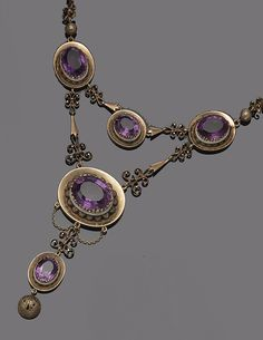 GOLD, AMETHYST AND ENAMEL NECKLACE, 1890S