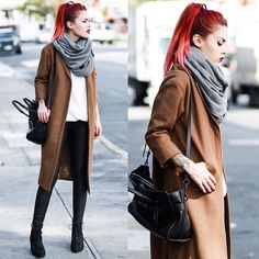 With a White Shirt, Lace-Up Shoes, and an Infinity Scarf