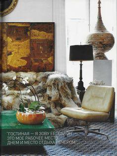 Fur sofa and a malachite coffee table. AD Russia, Lorenzo Castillo Spanish interior designer - interiorista Lorenzo Castillo
