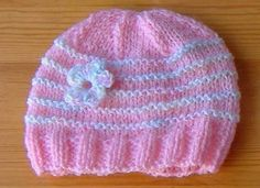 knitted baby girl hats  Newborn Baby Hats With 4 or 5 ga. Simple stylish knitting & crochet patterns from a popular independent designer. Baby Hat Knitting Patterns Free, Baby Cardigan Knitting Pattern, Baby Hat Patterns, Baby Hats Knitting, Knitted Baby Blankets, Beanie Pattern, Crochet Baby Hats, Knitted Hats, Crochet Patterns