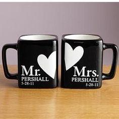 Personalized Mr. and Mrs. Black Mug Set
