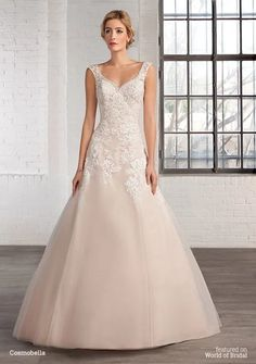 Wedding Dresses, Bridesmaid Dresses, Prom Dresses and Bridal Dresses Cosmobella Wedding Dresses - Style 7745 - Cosmobella Wedding Dresses, V-neck A-line lace over tulle bridal gown with scoop back. Lace Wedding Dress, 2016 Wedding Dresses, Gorgeous Wedding Dress, Cheap Wedding Dress, Stunning Dresses, Wedding Dress Styles, Bridal Dresses, Wedding Gowns, Bridesmaid Dresses