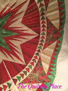 Christmas Celebration Tree Skirt, Made by Peggy Brittan, Quilted by The Quilting Place