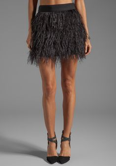 Milly Cocktail Feather Mini Skirt in Black {this skirt is so fun!}