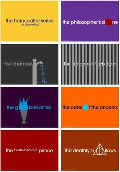 Minimalist cover designs for the Harry Potter books