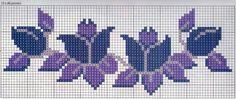 Cross stitch pattern, blue purple flowers
