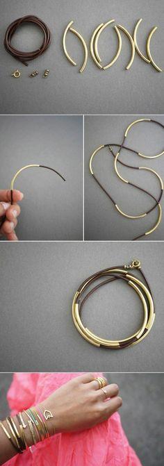 idea per fai da te oggetti creativi, dei bracciali e delle collane realizzate con del cordoncino e delle parti dorate