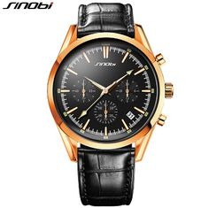SINOBI Fashion Chronograph Watch Men Top Luxury Brand Gold Watches Auto Date Quartz Watch Clock Hour Montre Homme Reloj Hombre Tag a friend who would love this! Visit us