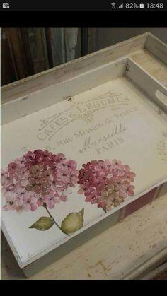 Decoupage Furniture, Decoupage Art, Decoupage Vintage, Flower Frame, Flower Art, Decor Crafts, Diy And Crafts, Decoration Shabby, French Crafts