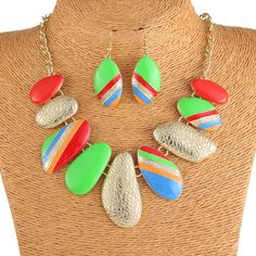 Alloy Stylish Oil Drip Multicolor Irregular Design Women Necklace Earrings Jewelry Sets