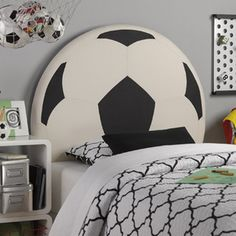 Your little athlete will race to show everyone the Powell Upholstered Soccer Ball Twin Headboard in her room. A perfect centerpiece, this headboard. Soccer Room Decor, Soccer Bedroom, Soccer Theme, Boys Room Decor, Boy Room, Sports Bedding, Bed Frame And Headboard, Kids Soccer, Soccer Stuff