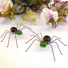 Green and Black Spiders Two Handmade by SpiderwoodHollow on Etsy, $24.00