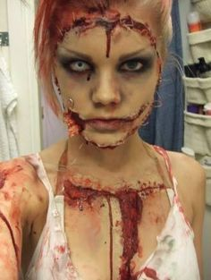 Zombie face off, the cut makes the zombie look like their face is stitched on, great effect