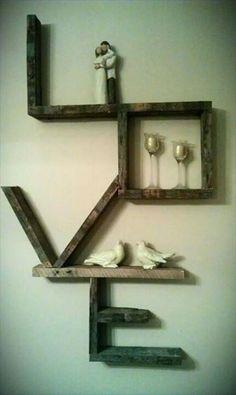 creative diy LOVE shelving