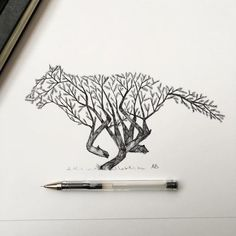 Natural Elements and Animals Fused Together in Intricate Pen Drawings…
