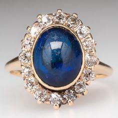 Antique Created Sapphire Diamond Halo Ring 14K Gold