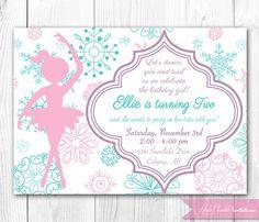 Winter Ballerina Birthday Invitation. Nutcracker Birthday Invitation. DIY Printable Birthday Invite. on Etsy, $14.00