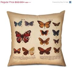 ON SALE Pillow Cover   BUTTERFLIES Nature Plate 2 of by OsoAndBean, $36.40