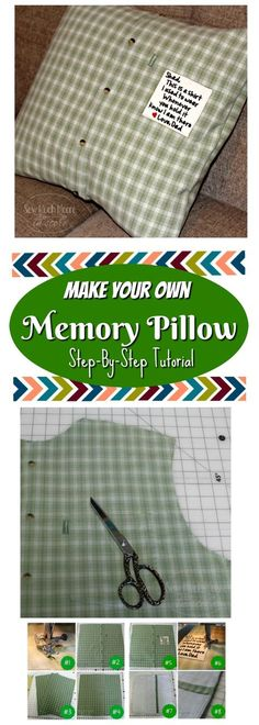 Sewing Gifts For Men Make a Memory Pillow from a Men's Shirt Easy Sewing Projects, Sewing Projects For Beginners, Sewing Hacks, Sewing Tutorials, Sewing Tips, Sewing Ideas, Sewing Men, Diy Projects, Sewing Crafts