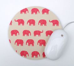 Elephant Mousepad / Pink and White Kawaii / Round Mouse Pad / Office Home Decor / Japanese Tip Top Canvas Daiwabo on Etsy, $12.00