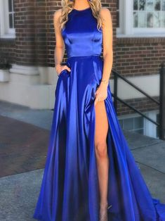 Royal Blue Halter Neck Satin Prom Dress with Pockets,Split Blue Evening Dress by prom dresses, $166.00 USD